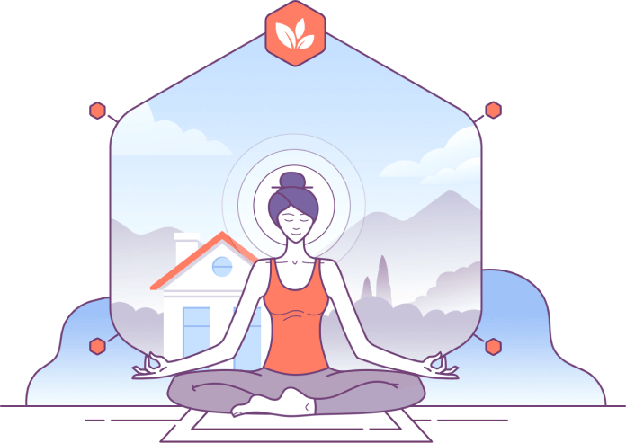 A woman sitting on a yoga mat meditating while her home in the back produces zero environment damage